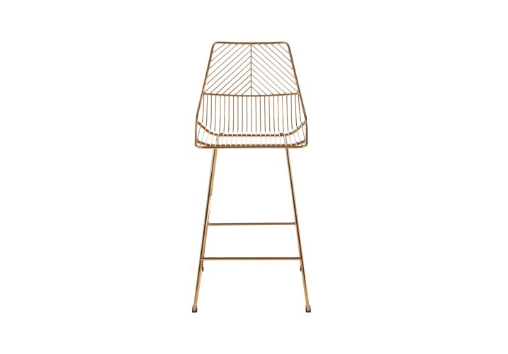 Image 0: District Gold Wire Bar Stool