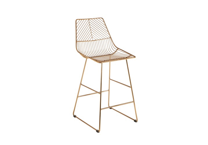 Image 1: District Gold Wire Bar Stool