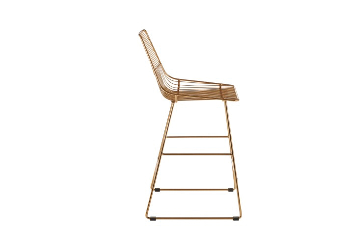 Image 2: District Gold Wire Bar Stool