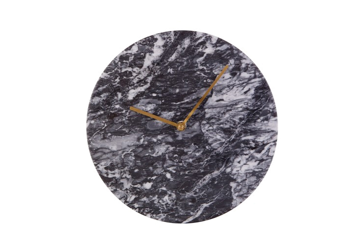 Image 0: Lamonte Black Marble Wall Clock