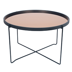 Image: Am Black & Copper Wood & Iron Round Coffee Table