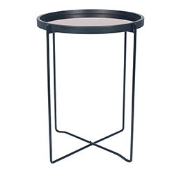 Image: Am Black & Copper Wood & Iron Round Side Table