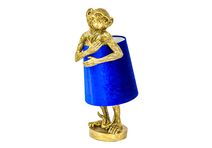 Image 0: George Antique Gold Table Lamp With Blue Velvet Shade