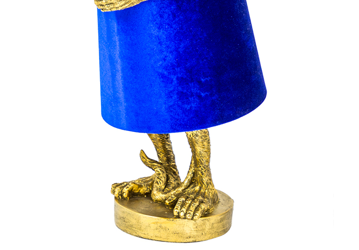 Image 2: George Antique Gold Table Lamp With Blue Velvet Shade