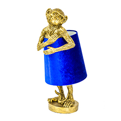 Image: George Antique Gold Table Lamp With Blue Velvet Shade