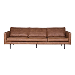 Image: Pablo 3 Seater Leather Sofa In Cognac