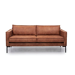 Image: Bratt 2.5 Seater Brown Leather