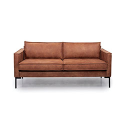 Image: Bratt 2 Seater Brown Leather