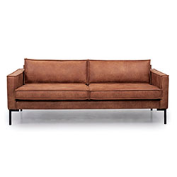 Image: Bratt 3 Seater Brown Leather
