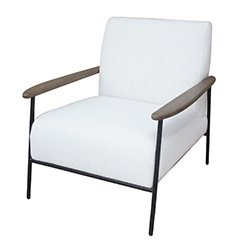 Image: Foundry Pale Grey Upholstered Armchair With Wooden Arm And Steel Frame