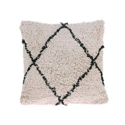 Image: Cotton Diamond Cushion Cream/Black