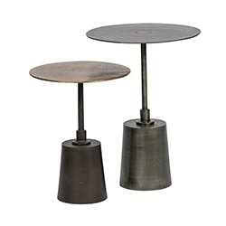 Image: Set of 2 - Crush Sidetable Metal Antique Brass/Silver